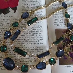 Avon Gold Blue Green Necklace Bracelet Set